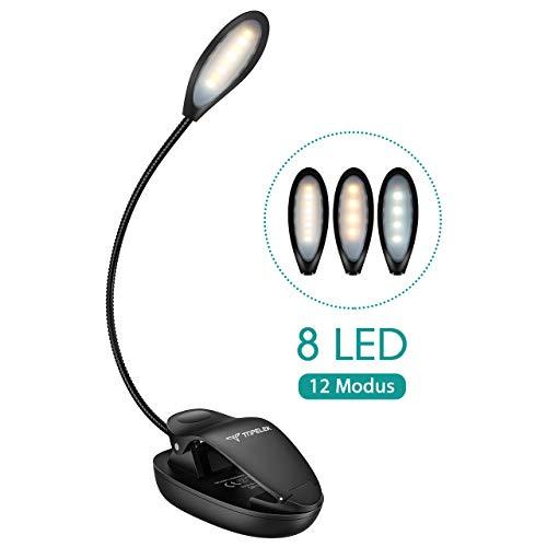 Leselampe Buch Klemme, TOPELEK 8 LED Buchlampe Bett, 3 Farbtemperatur, 4-Stufen Helligkeit, Memory-Funktion, Mikro USB Wiederaufladbar, LED Klemmleuchte für Nachtlesung, Buch, eBook Reader.