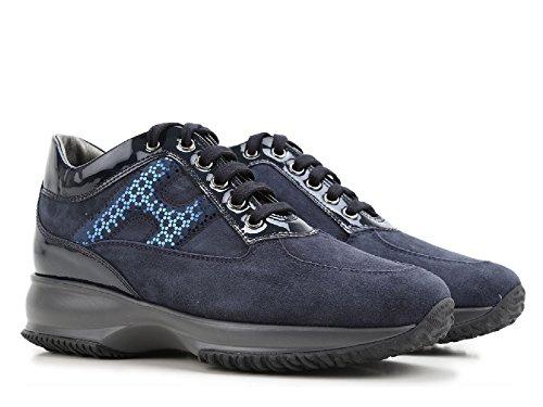 Sneakers Hogan Interactive donna in camoscio blu - Codice modello: HXW00N0V350J2K4460 Blu