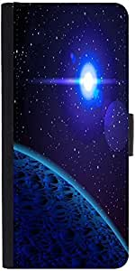 Snoogg Blue Planet Designer Protective Phone Flip Case Cover For Micromax Canvas Juice 2