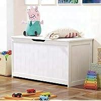 Luebel Large Children Kids White Wooden Big Toy Storage Chest Box UK