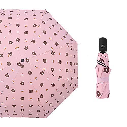 JUNDY Regenschirm Taschenschirm - klein, leicht & kompakt, windsfest, Dreifachgefalteter automatischer Regenschirm aus schwarzem Kunststoff color1 97cm