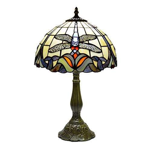 12 Zoll Tiffany Style Tischlampe Dragonfly Bedside Dekoratives Licht Mit Farbigem Glas Lampenschirm Schlafzimmer Studie Beleuchtung Schreibtischlampe, E27, 110-220V - Ul 123