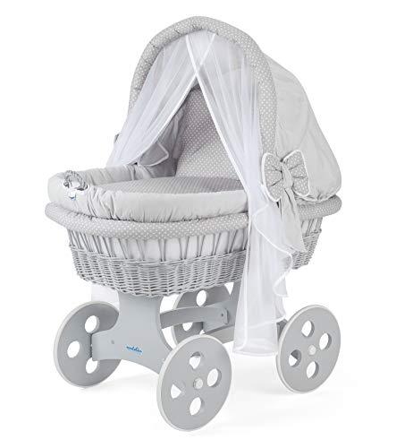 WALDIN Baby Stubenwagen-Set mit Ausstattung,XXL,Bollerwagen,komplett,44 Modelle wählbar,Gestell/Räder grau lackiert,Stoffe grau/Punkte weiß