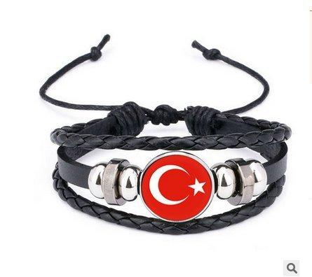 Newin Star WM Armband, Stylisches Armband für 2018 Weltmeisterschaft, Fußball Fanartikel Geflochtenes Lederarmband in Länder Style (Türkei)