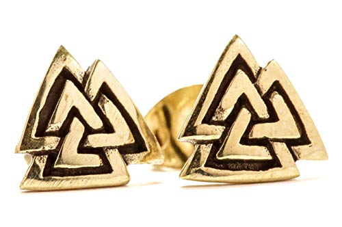 WINDALF Vikings Vintage Ohrstecker VALKNUT 0.8 cm Wikinger Odinsknoten Ohrringe Wotansknoten Hochwertige Bronze