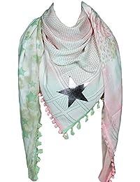 Mevina Damen XXL Schal Glitzer Stern Anker Pali Muster mit Bommeln groß quadratisch Tuch Halstuch Oversized Premium Qualität
