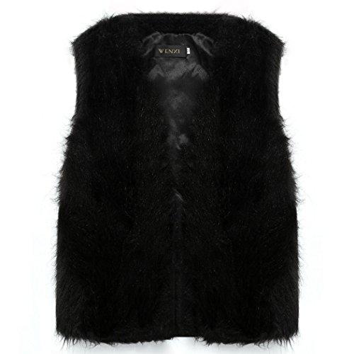 CRAVOG 2016 Mode Femme Gilet D'hiver en Fourrure Fausse Chaud Parka Manteau Sans Manche Pardessus veste Outwear #4 Noir