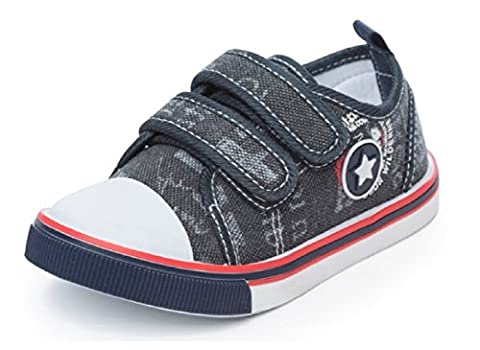 Chatterbox Infant Toddler Young Boys Canvas Trainers Plimsolls Pumps Shoes Strap Closure Size Infant 4 - 12 (UK 4, Navy