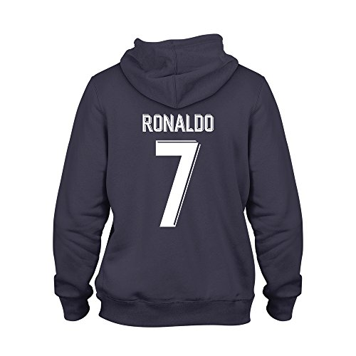 Cristiano Ronaldo 7 Club Player Style Kids Hoodie Navy/White, Medium Boys (7-8yrs)
