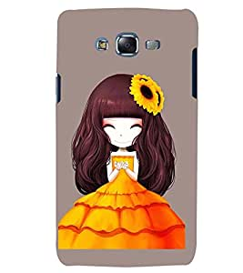 Printvisa Premium Back Cover Animated Girl with Orange Dress Design for Samsung Galaxy J5::Samsung Galaxy J5 J500F