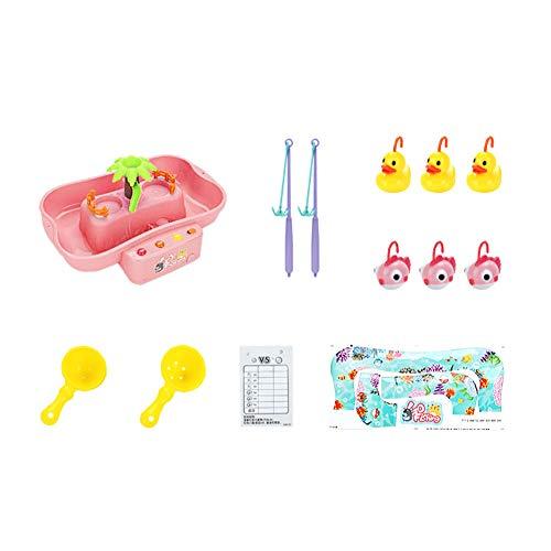 YaptheS Elektrische Dreh Angeln Spielzeug Set aus Kunststoff mit Musik und Licht für Jungen-Mädchen-Geschenke Baby-Bad-Spielzeug Angelspiel für Kinder Indoor Outdoor 1box Rosa (Jungen Licht-bad-spielzeug-für)