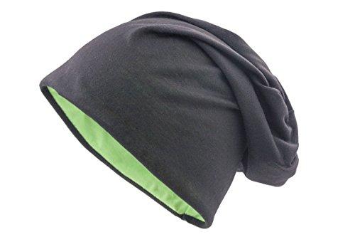 Shenky - berretto reversibile in 2 colori - nero-verde - misura unica