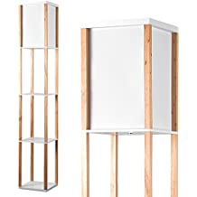 MiniSun – Moderna lámpara de pie 'Struttura' - de madera con acabado en roble y tela blanca - con 3 repisas