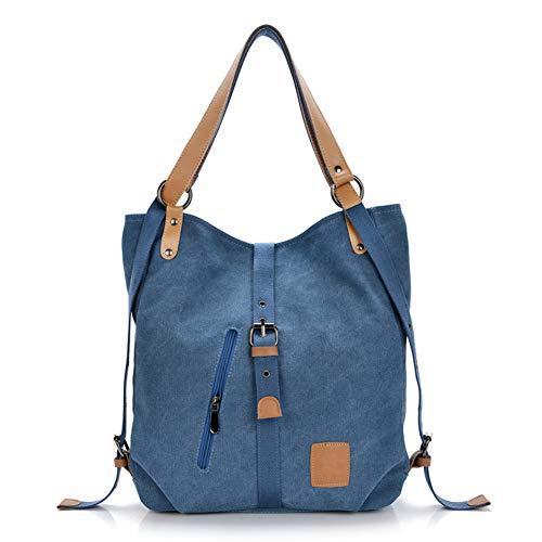 Gindoly Stilvolle Damen Canvas Handtasche Rucksack Umhängetasche 3 in 1 Große Multifunktionale Tasche für Arbeit Schule Alltag(Blau) -