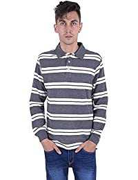 Quotee Winter Exclusive Men's Striper Polo Dark Grey And White Polo T Shirt By GlamFolio IPL