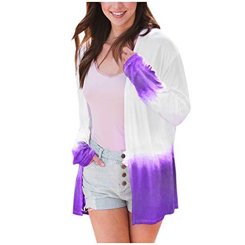 Sie Kostüm Ein Joker Erstellen - CUTUDE Pullover Plus Size Damen Mode Herbst Casual Farbverlauf Volle Hülse Strickjacke Wild Joker Coat (Lila, Large)