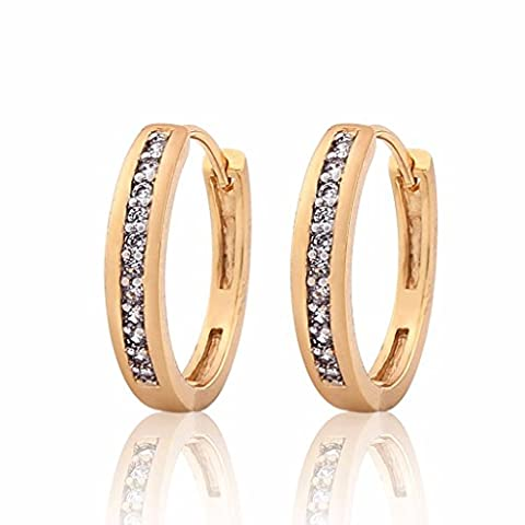 GULICX Gold and Platinum Electroplated Zircon 1 Row Round Hoop Huggie Earrings Pave Setting for