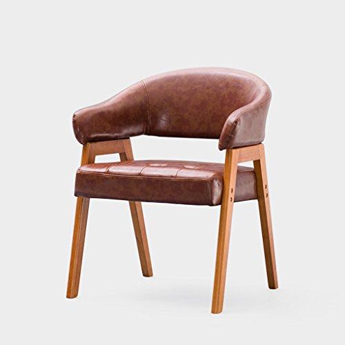 Förmigen Schreibtisch (C&S CS Leder Komfortable Stuhl Nordic Einfache Rückenlehne U Förmigen Hocker Arbeitszimmer Computer Schreibtisch Stuhl Massivholz Hocker Füße (Color : A))