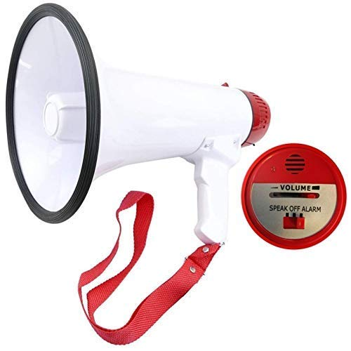 Rexco Sports D17309C Megafono Portatile e Pieghevole con Sirena Manico Pieghevole Volume Regolabile Impugnatura per Pistola Altoparlante
