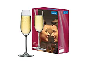 Ocean Madison Flute Champagne Glass 210ml, Transparent, Set Of 2