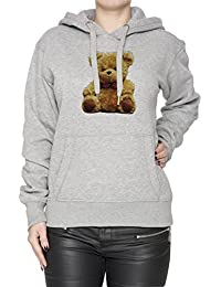 Teddy Ours Gris Coton Femme Sweat-shirt Sweat À Capuche Pull-over Grey Women's Sweatshirt Pullover Hoodie