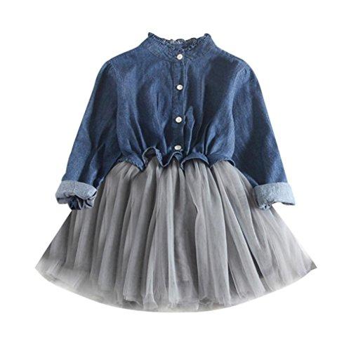 ❤️Elecenty Mädchen Prinzessin Kleid,Jeans-Kleid Tutu Mesh Kleid Kinder Langarm Cowboy Kleidung Strandkleid Baby Kleider Tasten Outfit Kinderkleidung Partykleid Tüllkleid Abendkleider (90, Dunkelblau)