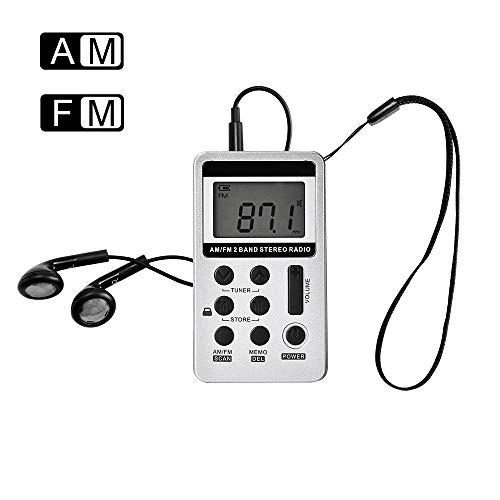 ABEDOE AM/FM-Taschenradio, Tragbares Mini-Transistorradio Digitales Tuning-Stereoradio mit USB-Ladefunktion, LCD-Display und Kopfhörer für unterwegs