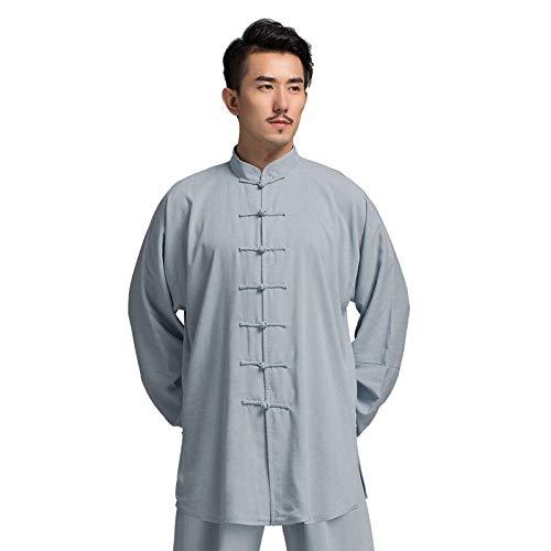 AMhuui Herren Kung Fu Tai Chi Uniform Baumwollseide, traditionelle chinesische Uniform Top Kung Fu für Ihre Tai Chi Übung,Gray,XL