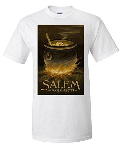 Salem, Massachusetts - Cauldron - Halloween Oil Painting (Premium T-Shirt)