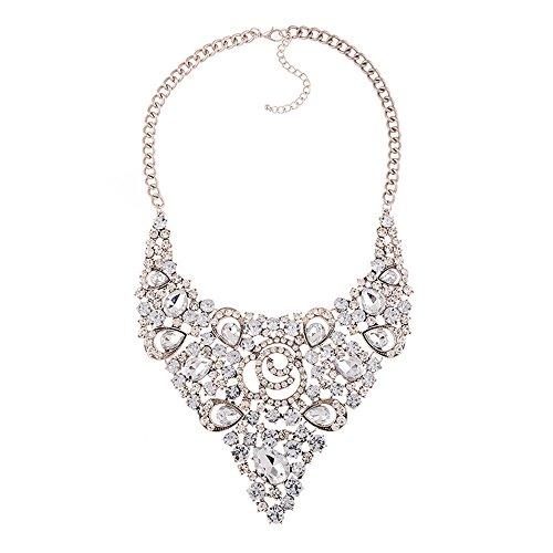 XZJX Vintage Diamond Farbe Brautkleid Halskette Halskette Falschen Kragen Pullover Kette...