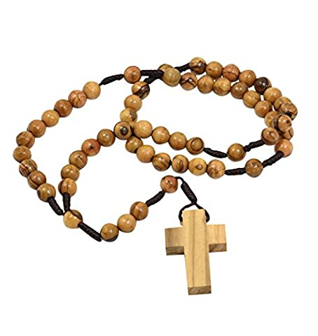 Authentique en bois d'olivier catholique Chapelet Collier de perles à partir de Bethléem en coton naturel Pouch par Mizze, Bois, marron, 12 x 16