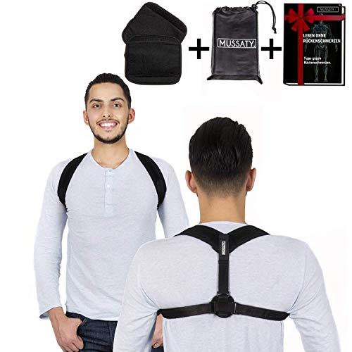 Mussaty Haltungstrainer Geradehalter Posture - Rückenstütze für bessere Haltung - für Männer und Frauen - Größenverstellbare Schulterbandage - 2 Schulterpolster , Achselpolster & E-Book GRATIS dazu