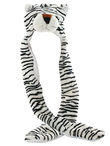 Kostüm Tiger Weißen Plüsch - DELEY Unisex Plüsch Tier Hut Mit Langen Schal Handschuhe Ohrenschützer Halloween Weihnachten Winter Kappe Mütze Karneval Kostüme Weiß Tiger