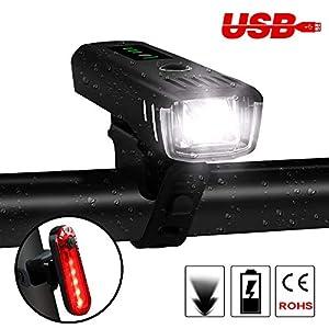 41mh19b8efL. SS300 Luci per Bicicletta,Bici Ricaricabili USB LED Impermeabile Set ,Luce Bici Anteriore e Posteriore Super Luminoso Lampadine Bici LED per Bici Strada e Montagna-Sensore Intelligente Sicurezza per Notte