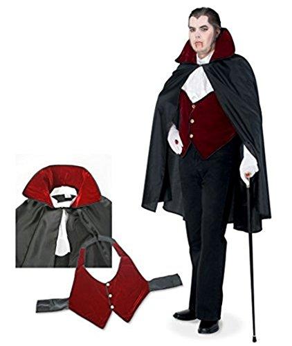 Halloween Graf Dracula 3tlg Umhang Cape Vampir Überwurf inkl Jabot und Pique-Weste UNISEX (Kostüme Vampir Bella)