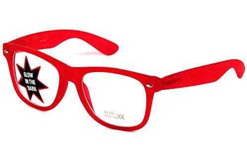 Nerd-Brille Party-Brille rot leuchtet im Dunkeln UV-Schutz-400 Damen Herren Geek-Brille