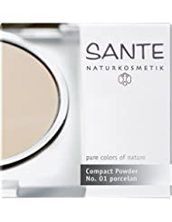 SANTE Naturkosmetik Compact Powder Nr.01 Porcelain, Heller Hautton, Perfektes Finish durch Mineralpigmente, Sanft mattierter Teint, 9g