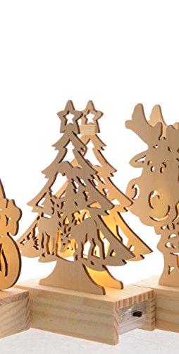 """LED Weihnachtsbeleuchtung """"Holz Weihnachtsfigur"""" Batteriebetrieben Holzdeko Weihnachten Weihnachtdeko Weihnachtsmann Tannenbaum Rentier ausgefallen Natur (Tannenbaum)"""