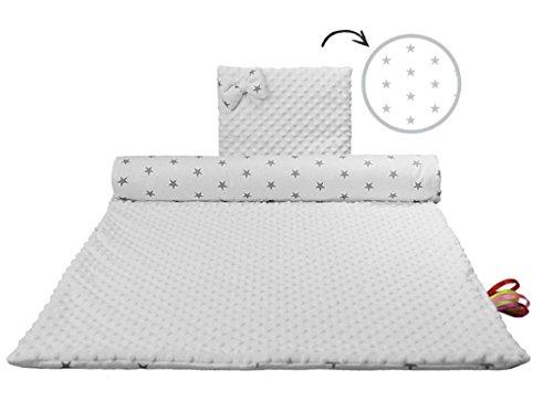 Babydecke 100x70 Decke mit Kissen Set Kinderwagen Einschlagdecke Krabbeldecke Kuscheldecke warm Einwickeln Minky leichte Zudecke