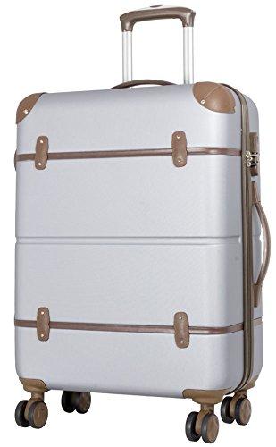 DESIGN Reisekoffer L SILBER - BRAUN 66x46x26 cm 3D Hartschale Koffer Trolley mit schutzkanten Bowatex