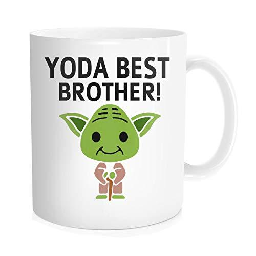 Chilltreads Yo Brother Tasse Lustige Star Fans Kaffeetasse Big Brother Geburtstag Geschenk Yo-da Brother, 325 ml weiß