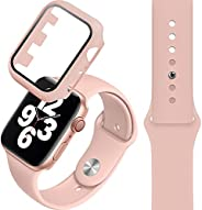 Compatible with Apple Watch band 38/40mm, Silicone Watch Strap + PC Tempered Screen Protective case Suit, Adju
