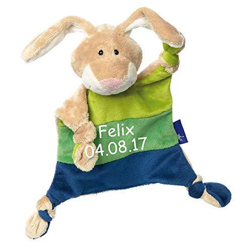 1af49d3737 Sigikid Schmusetuch Hase Hellgrün Grün Blau mit Namen bestickt Baby  Geschenk zur Geburt Schnuffeltuch