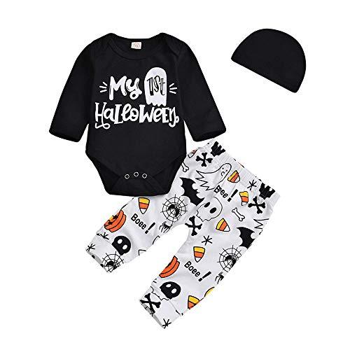 Huhu833 Baby Kleidung, Kleinkind Infant Baby Mädchen Jungen Brief Strampler Hosen Halloween Kostüm Outfits Set (Schwarz, 6M-70CM)