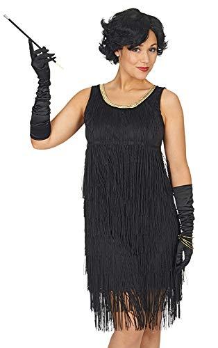Charleston Kleid Justine mit Fransen - Schwarz Gold - Damen Party Gatsby Kostüm im Stil der 20er Jahre (40/42, Schwarz)