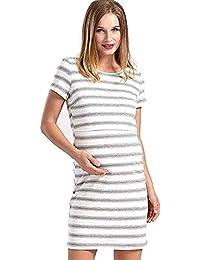72895164711b Abito da Donna per La Incinta Moda Maglietta Unique Stlie A Maniche Lunghe  con Scollo A Righe A Righe Elegante Abito…