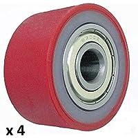 Pack de 4 rodillos de poliuretano de 50 mm de diámetro 26 mm de ancho 10 mm rodamientos fabricados en la UE (P–50 – 26 – 10)
