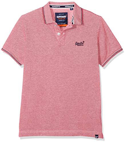 Superdry Herren Classic Poolside Pique Polo Poloshirt, Mehrfarbig (Coral/White S2v), Small (Herstellergröße: S) -