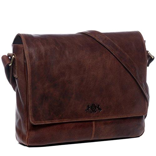 SID & VAIN Laptoptasche Messenger Bag Leder Spencer groß Businesstasche Unisex 15 Zoll Laptop Umhängetasche herausnehmbare Schutzhülle bis 15,4 Zoll echte Ledertasche Damen Herren braun