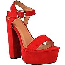 Fashion Thirsty heelberry Nuevo Mujer Verano Plataforma Sandalias Tacón Alto Mujer Peep Toe Tiras Zapatos Fiesta
